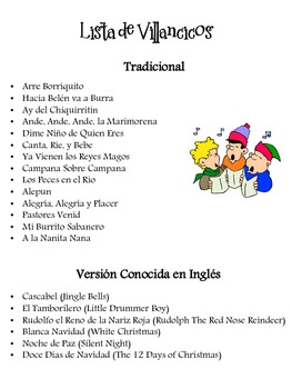 Spanish Christmas Caroling Fill-in
