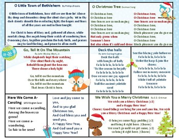Christmas Caroling Song Sheets By Live 4 Learning Tpt
