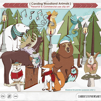 Christmas Clip Art, Forest Animal ClipArt, Bear, Moose, Pine Tree, Winter
