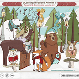 Christmas Woodland Forest Animal ClipArt, Bear, Moose, Pine Tree, Winter