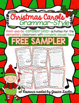 Christmas Carols Grammar Activities FREE SAMPLER