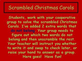 Christmas Carols Scrambled Co-Op Activity or Game Power Point