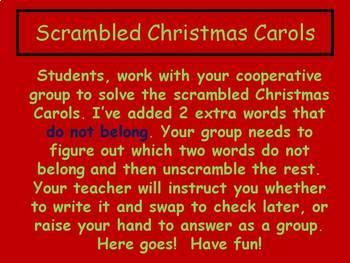 CHRISTMAS CAROLS UNSCRAMBLE ACTIVITY  POWER POINT