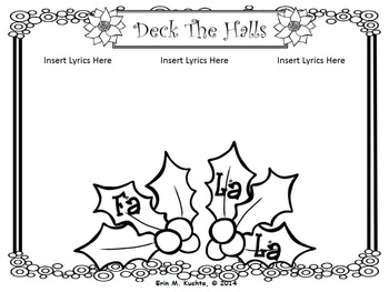 Christmas Carols/Songs Sing-a-Long/Coloring/Lyrics Pages (EDITABLE) - PPT Format