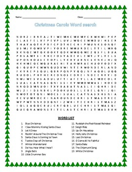 Christmas Carols Wordsearch