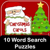 Christmas Carols word search puzzles with pictures to color