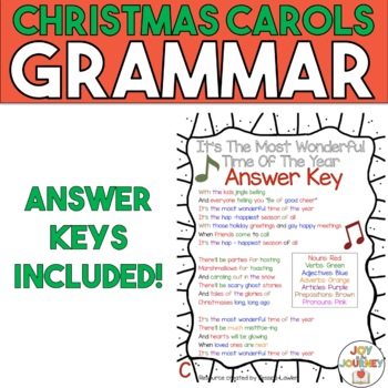 christmas carols grammar activities by joy in the journey by jessica lawler. Black Bedroom Furniture Sets. Home Design Ideas
