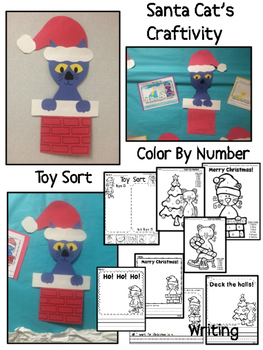 Christmas Cat Chimney Craftivity {booklet, color by number, writing}Kindergarten