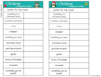 christmas categories game like scattergories by carrie