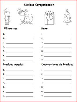 Christmas Categorizing Spanish-Freebie