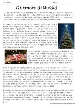 Christmas Celebration Reading Comprehension in Spanish - Lectura de Navidad