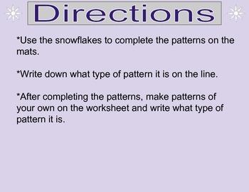 Winter Patterns - Math Center