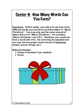 """Christmas Centers:  Grades 4-6 For a """"Holly, Jolly"""" Good Time"""