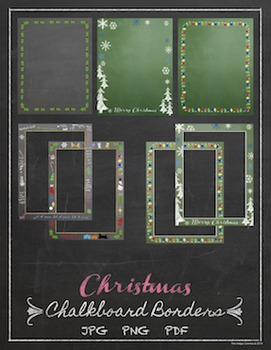 Chalkboard Background With Border Christmas