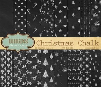 Christmas Chalkboard Digital Paper Backgrounds
