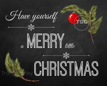 Christmas Chalkboard Sign, Art Illustration, Printable Tracey Gurley Designs