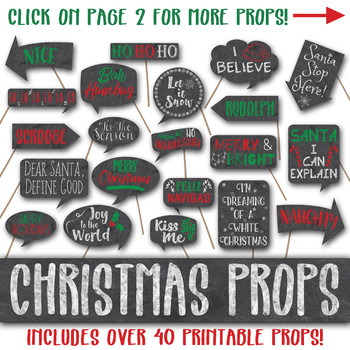christmas chalkboard signs photo booth props and decorations printable