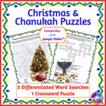 Christmas & Chanukah Word Search & Crossword Puzzles