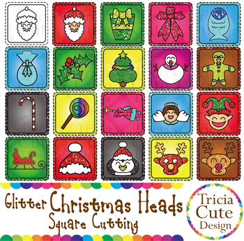 Glitter Christmas Character Heads Square Clip Art for Cutting