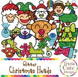 Christmas Character Heads Glitter Clip Art