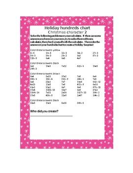Christmas Character Hundreds Chart Calculator Activity 2