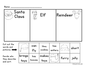 Christmas Character Main Idea and Details or Character Traits