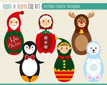Christmas Character Matroyshka Russian Dolls Clip Art - color and outlines