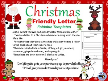 Christmas Characters Letter Writing
