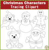 Christmas Characters Tracing Clipart