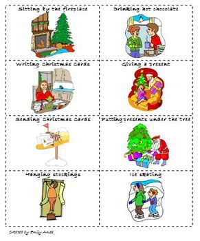 ESL Christmas Charades Game (kinesthetic, reading, acting, activity)