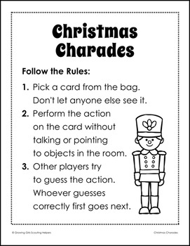Christmas Charades.Christmas Charades Girl Scout Brownies Fair Play Activity Pack Step 1
