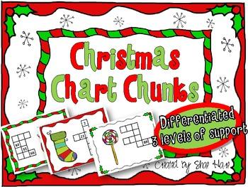 Christmas Chart Chunks - Common Core Math Work Station/Center 99 Chart