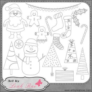 Christmas Cheer 1 - Art by Leah Rae Clip Art & Line Art / Digital Stamps