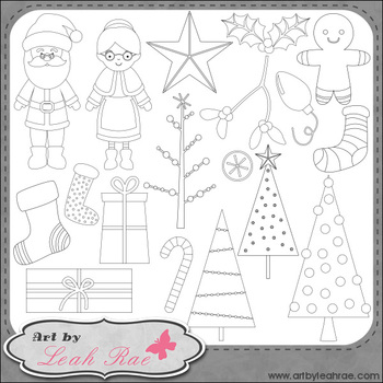 Christmas Cheer 2 - Art by Leah Rae Clip Art & Line Art / Digital Stamps