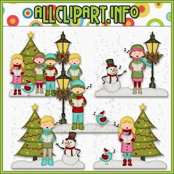 BUNDLED SET - Christmas Cheer Caroler Scenes Clip Art & Di