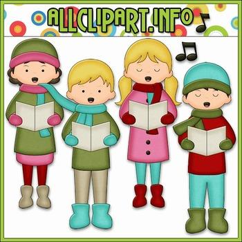 BUNDLED SET - Christmas Cheer Carolers Clip Art & Digital