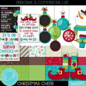 Christmas Cheer Digital Paper & Clip Art Set by Laine ...