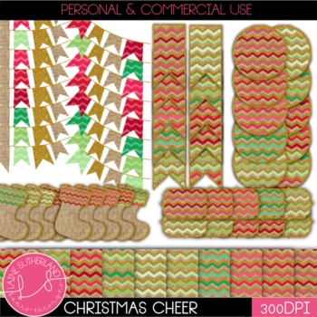 Christmas Cheer Digital Paper and Accents Set