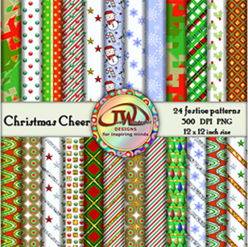 Christmas Backgrounds - Clip Art - Digital Papers - 12x12