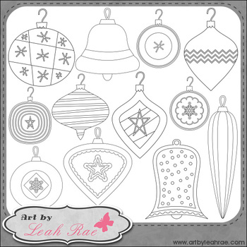Christmas Cheer Ornaments 1 - Art by Leah Rae Clip Art & Line Art / Digi Stamps