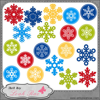Christmas Cheer Snowflakes 1 - Art by Leah Rae Clip Art &
