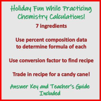 Christmas Chemistry Recipe Hunt Empirical Formulas And Mole Conversions