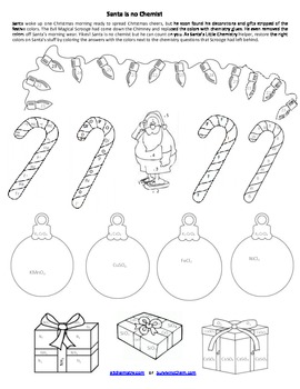 christmas chemistry review worksheet w coloring fun for high school chem. Black Bedroom Furniture Sets. Home Design Ideas