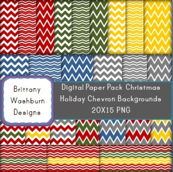 Christmas Chevron Digital Paper Background Pack