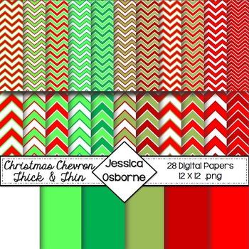 Christmas Chevron Digital Papers