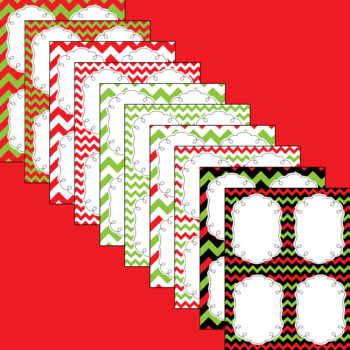 Christmas Chevron Editable Notecards, Notepad, Thank You Cards, etc.