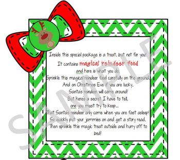 Christmas Chevron Reindeer Food Tags!