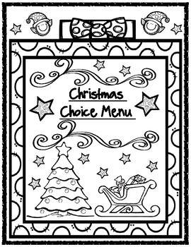 Christmas Choice Menu Board with Accompanying Graphic Organizers