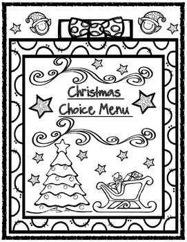 Christmas Choice Menu Board with Matching Holiday Organizers and Activity Pages