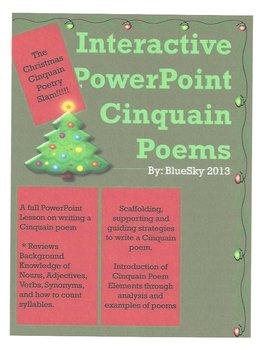 Christmas Cinquain Poetry Slam Interactive PowerPoint